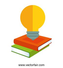pile text books with bulb