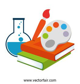 text books with paint pallette and tube test