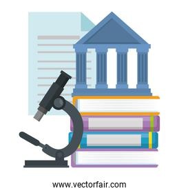 pile text books with microscope and library building