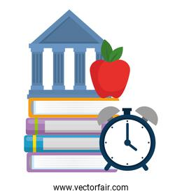 pile text books with alarm and library building