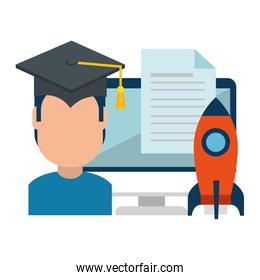 faceless student graduated with computer and rocket