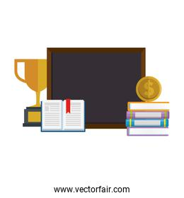 pile text books with chalkboard and trophy