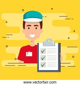 delivery worker with checklist character
