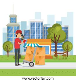delivery worker with cart boxes character