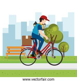 delivery worker on bicycle outdoor