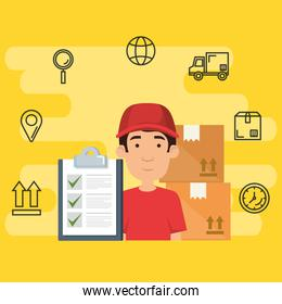 delivery worker with set icons