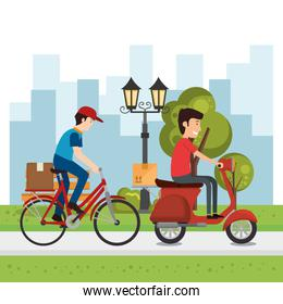 delivery worker with vehicles character