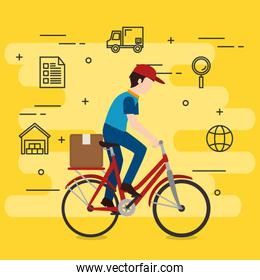 delivery worker in bicycle with icons