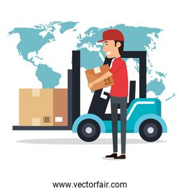 delivery worker with forklift character