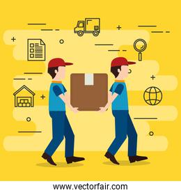 delivery workers with boxes character