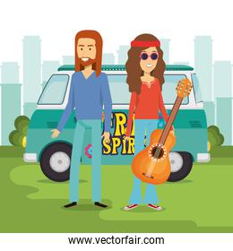 couple hippies playing guitar lifestyle characters