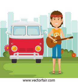 man hippie with guitar lifestyle character