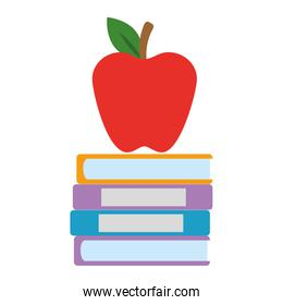 pile text books and apple