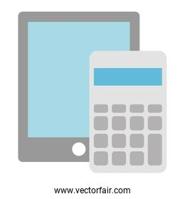 isolated calculator math with tablet
