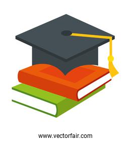 pile text books with hat graduation