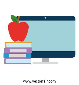 pile text books with apple and computer