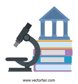 pile of books with microscope and library building
