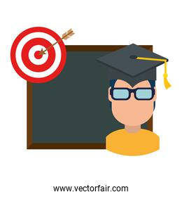student graduated with chalkboard and target