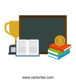 text books with chalkboard and trophy