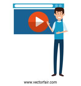 man teaching with media player display