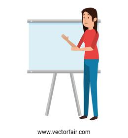woman teaching with paperboard character