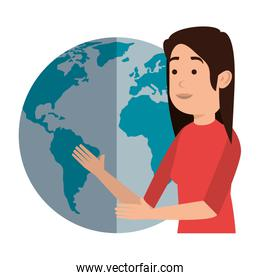 woman teaching with world planet character