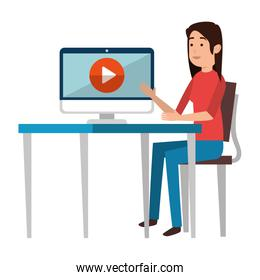 woman teaching with computer and media player