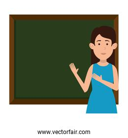 woman teaching with chalkboard character