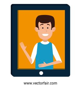 man teaching in tablet character