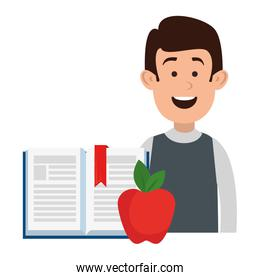 man teaching with apple and book character