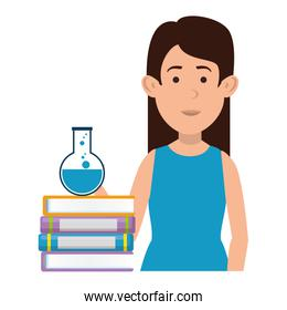 woman teaching with tube test and book