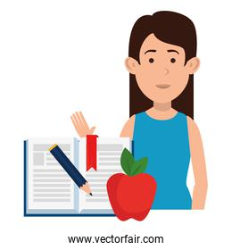 woman teaching with apple and textbook character