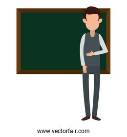 man teaching with chalkboard character