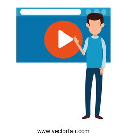 man teaching with media player template