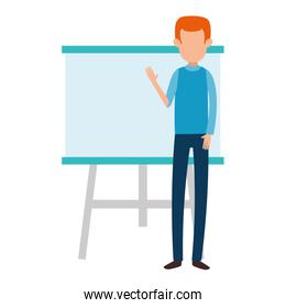 man teaching with paperboard character