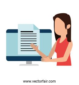 woman teaching in computer character