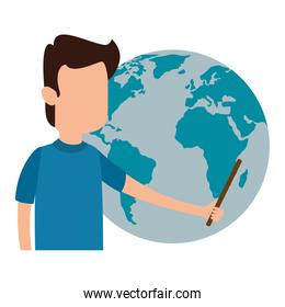 man teaching with world planet character