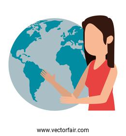faceless woman teaching with world planet character