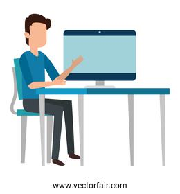 man teaching in computer character