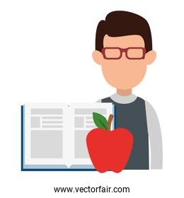 teacher man faceless with apple and book character