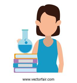 woman teaching with tube test and book character