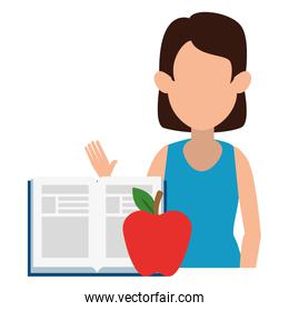 woman teaching with apple and book character