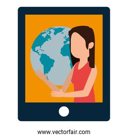 woman teaching in tablet and world planet