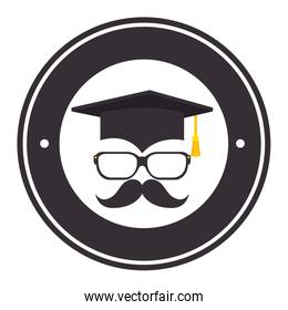 hat graduation with mustache and glasses