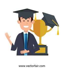 student graduated with trophy cup