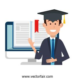 student graduated with computer and ebook