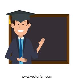 student graduated with chalkboard