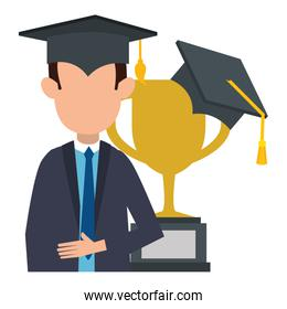 faceless student graduated with trophy cup