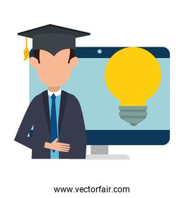 student graduated with computer and bulb
