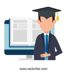student faceless graduated with computer and ebook